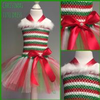 Elf tutu tulle dress Christmas outfit girls Christmas dress up red green white
